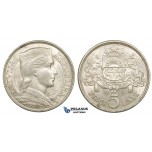 ZE51, Latvia, 5 Lati 1929, Silver, Lustrous XF-UNC