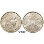 ZE53, Latvia, 5 Lati 1932, Silver, Lustrous UNC-