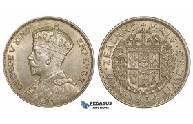 ZE54, New Zealand, George V, 1/2 Crown 1934, Silver, AU