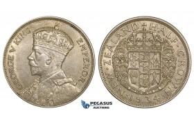 ZE54, New Zealand, George V, 1/2 Crown 1934, Silver, AU
