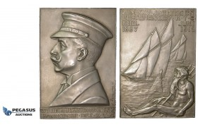 ZE72, Germany, Schleswig-Holstein, Kiel city, Silver Plaque 1912 (124.5g) by W. Haverkamp, on the 25th anniversary of the Kieler Yacht Club, Rare!