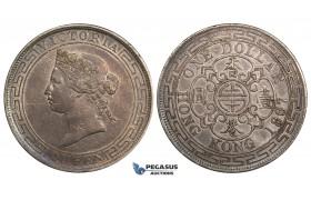 ZE73, Hong Kong, Victoria, 1 Dollar 1867, Silver, Toned VF, Rare!