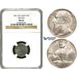 ZE76, Belgium, Leopold II, 50 Centimes 1901, Brussels, Silver, NGC MS62