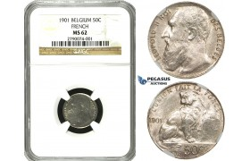 ZE76, Belgium, Leopold II, 50 Centimes 1901, Brussels, Silver, NGC MS62