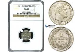 ZE78, Denmark, Frederik VII, 4 Skilling rigsmønt 1854 FF, Silver, NGC MS63