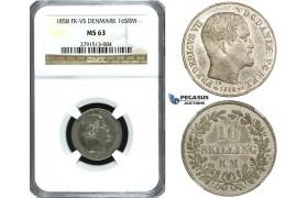 ZE79, Denmark, Frederik VII, 16 Skilling rigsmønt 1858 VS, Silver, NGC MS63