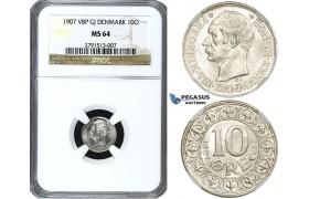 ZE81, Denmark, Frederik VIII, 10 Øre 1907, Copenhagen, Silver, NGC MS64