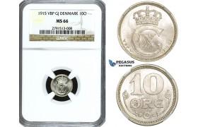 ZE82, Denmark, Christian X, 10 Øre 1915, Copenhagen, Silver, NGC MS66