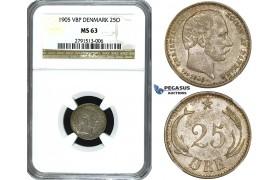 ZE83, Denmark, Christian IX, 25 Øre 1905, Copenhagen, Silver, NGC MS63