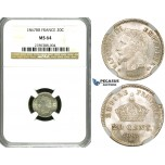 ZE84, France, Napoleon III, 20 Centimes 1867-BB, Strasbourg, Silver, NGC MS64