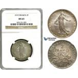 ZE87, France, Third Republic, 2 Francs 1919, Paris, Silver, NGC MS63