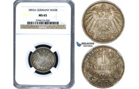 ZE89, Germany, Empire, Wilhelm II, 1 Mark 1892-A, Berlin, Silver, NGC MS65