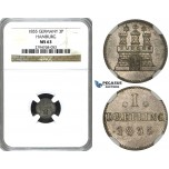 ZE90, Germany, Hamburg, Dreilling 1855, Silver, NGC MS63