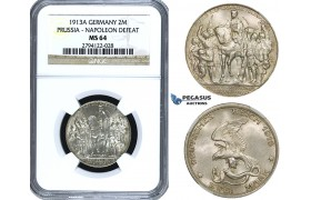 ZE91, Germany, Prussia, Wilhelm II, 2 Mark 1913 (Napoleons Defeat) Silver, NGC MS64