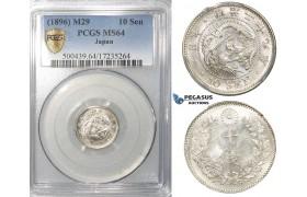ZE95, Japan, Meiji, 10 Sen Year 29 (1896) Silver, PCGS MS64