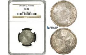 ZE97, Japan, Showa, 50 Sen Year 9 (1934) Silver, NGC MS66
