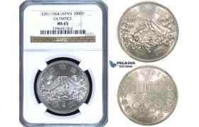 ZE98, Japan, 1000 Yean 1964 (Olympic Games) Silver, NGC MS65