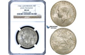 ZF01, Luxembourg, Jean, 50 Francs 1946 (John The Blind) Silver, NGC MS64