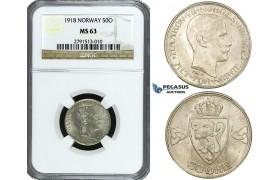 ZF03, Norway, Haakon VII, 50 Øre 1918, Kongsberg, Silver, NM 49, NGC MS63
