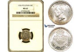 ZF06, Spain, Alfonso XIII, 50 Centimos 1926 PCS, Silver, NGC MS63