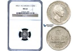 ZF07, Sweden, Oscar I, 1/32 Rigsdaler Specie 1852/1 AG, Stockholm, Silver, NGC MS62