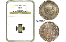 ZF08, Sweden, Carl XV, 10 Öre 1871 ST, Stockholm, Silver, NGC MS64