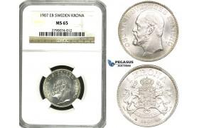 ZF09, Sweden, Oscar II, 1 Krona 1907 EB, Stockholm, Silver, NGC MS65