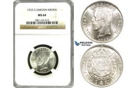 ZF10, Sweden, Gustaf V, 1 Krona 1933 G, Stockholm, Silver, NGC MS64