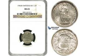 ZF17, Switzerland, 1/2 Franc 1966-B, Bern, Silver, NGC MS65