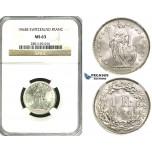 ZF18, Switzerland, 1 Franc 1964-B, Bern, Silver, NGC MS63