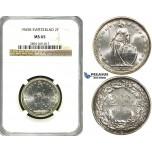 ZF19, Switzerland, 2 Francs 1965-B, Bern, Silver, NGC MS65