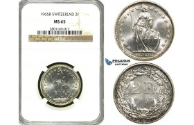 ZF19, Switzerland, 2 Francs 1965-B, Bern, Silver, NGC MS65