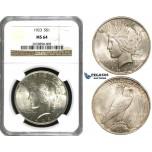 ZF23, United States, Peace Dollar 1923, Philadelphia, Silver, NGC MS64