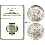 ZF24, Vatican, Pius XII, 5 Lire 1940 (II) R, Rome, Silver, NGC MS65