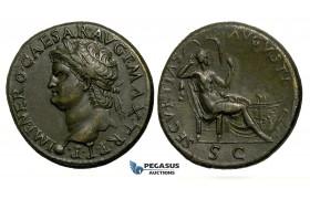 ZF27, Roman Empire, Nero  (54-68 AD) Æ Dupondius (12.11g) Lugdunum (Lyon) 67 AD, Securitas, EF