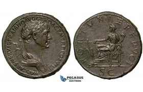 ZF29, Roman Empire, Trajan (98-117 AD) Æ Sestertius (28.32g) Rome, 112-114 AD, Fortuna, EF (Smoothing)