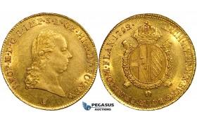 ZF30, Austria, Leopold II, 1/2 Sovrano 1792-B, Kremnitz, Gold (5.57g) UNC, Rare!