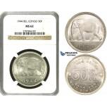 ZF34, Belgian Congo, Leopold III, 50 Francs 1944, Silver, NGC MS62