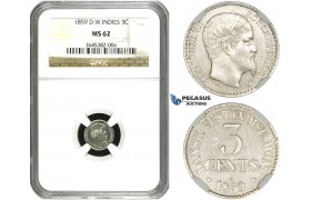 ZF35, Danish West Indies, Frederik VII, 3 Cents 1859, Silver, NGC MS62