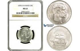 ZF37, Danish West Indies, Christian IX, 20 Cents 1878, Silver, NGC MS63