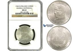 ZF40, Finland, 1000 Markkaa 1960, Silver, NGC MS63