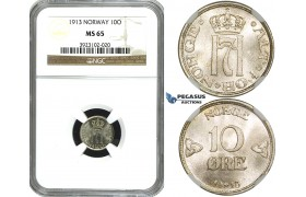 ZF47, Norway, Haakon VII, 10 Øre 1913, Kongsberg, Silver, NGC MS65 (Pop 1/3, No finer!)