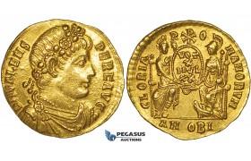 ZF51, Eastern Roman Empire, Valens (364-378 AD) AV Solidus (4.47g) Antioch Mint, 373-374 AD, Roma & Constantinopolis, gEF
