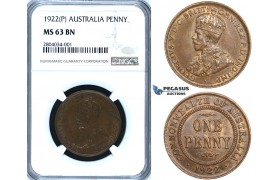 ZF52, Australia, George V, 1 Penny 1922 (P) Perth, NGC MS63BN