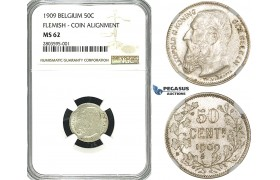 ZF53, Belgium, Leopold II, 50 Centimes 1909, Silver, NGC MS62 (Flemish, coin align.)