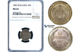 ZF55, Bulgaria, Alexander I, 50 Stotinki 1883, St. Petersburg, Silver, NGC MS64