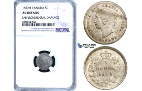 ZF57, Canada, Victoria, 5 Cents 1872-H, Heaton, Silver, NGC AU Details