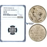 ZF58, Canada, Victoria, 5 Cents 1874-H, Heaton, Silver, NGC AU58