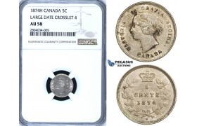"ZF58, Canada, Victoria, 5 Cents 1874-H, Heaton, Silver, NGC AU58 ""Large date Crosslet 4"""