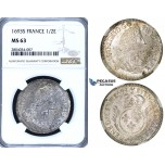 ZF60, France, Louis XIV, 1/2 Ecu 1693-S, Troyes, Silver, NGC MS63, Pop 1/0, Finest!